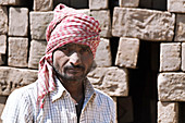 Mud brick industry worker