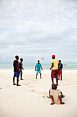 Football training on a beach, Zanzibar