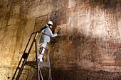Fresco restoration at Domus Aurea palace in Rome