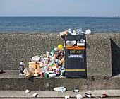 Litter next to sea, New Brighton, UK