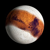 Mars in an ice age, illustration