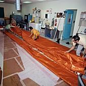Skylab emergency sunshield fabrication, 1973