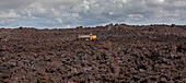 Road-building on lava flow from Kilauea volcano eruption