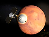 InSight spacecraft entering Mars' atmosphere, illustration