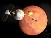 InSight spacecraft landing on Mars, illustration