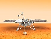 InSight lander deploying instrument, illustration