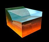 Effect of sea level on tectonic plates, illustration