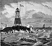 Cayenne lighthouse, French Guiana, 19th Century illustration