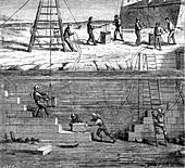 19th Century underwater construction, illustration