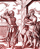 16th Century butcher, illustration