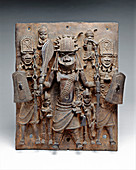 Benin brass plaque, 16th-17th century