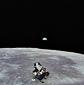Apollo 11 LM ascent stage in lunar orbit, 1969
