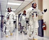 Apollo 11 astronauts leave for launch pad, July 1969
