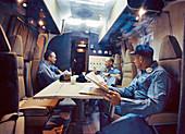 Apollo 11 crew in the Mobile Quarantine Facility, 1969