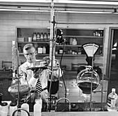 Testing Quilon water repellent, 1950s