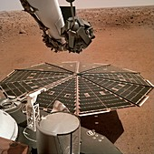 InSight lander on Mars, solar panel deployed