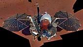 InSight lander on Mars, solar panels deployed