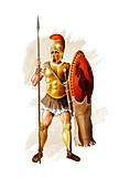 Ancient Greek warrior, illustration