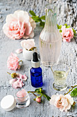 Natural cosmetics with rose
