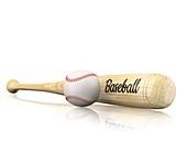 Baseball bat and ball, illustration