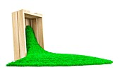 Wooden box spilling grass, illustration