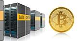 Golden bitcoin and digital farm, illustration