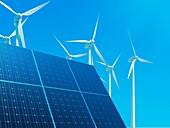 Solar panels and wind turbines, illustration