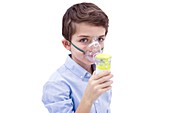 Boy using nebuliser