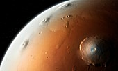 Illustration of Mars' Tharsis Montes