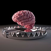 Illustration of a trapped brain