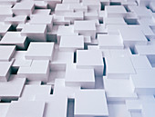 White abstract cubes surface, 3d illustration