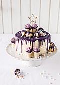 A purple drip cake