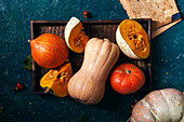 Variety of pumpkins of different size, form and color