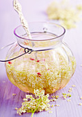 Homemade elderflower vinegar with white wine vinegar, fresh elderflowers and pink pepper