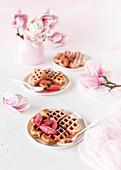 Yoghurt waffles with rhubarb