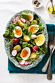 Vegetarian boiled egg Easter Spring salad