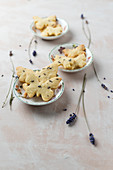 Butterfly biscuits with lavender flowers