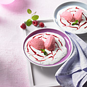 Champagne and raspberry mousse on a mint and yoghurt sauce with raspberry purée