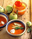 Cream of tomato and apple soup