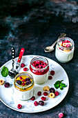 Homemade yogurt in jars with different fillings