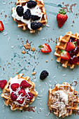 Waffles topped with various toppings