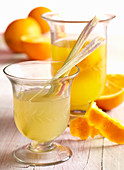 Homemade lemon and orange vinegar with lemongrass