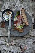 Toasted sandwiches with Schäufele (pork shoulder)