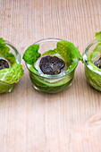 Savoy cabbage lasagna in glass bowls