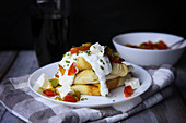 Savoury pancakes with vegetables and sheep's cream cheese