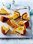Baked Mango and White Chocolate Cheesecake