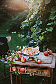 Apples and baked apple rings on a vintage wooden table in a garden