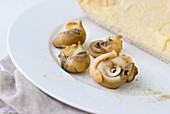 Snails with white bread