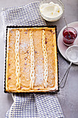 Puff pastry pear tart with sour cream