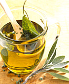 Homemade seasoning oil with fresh sage and olive oil